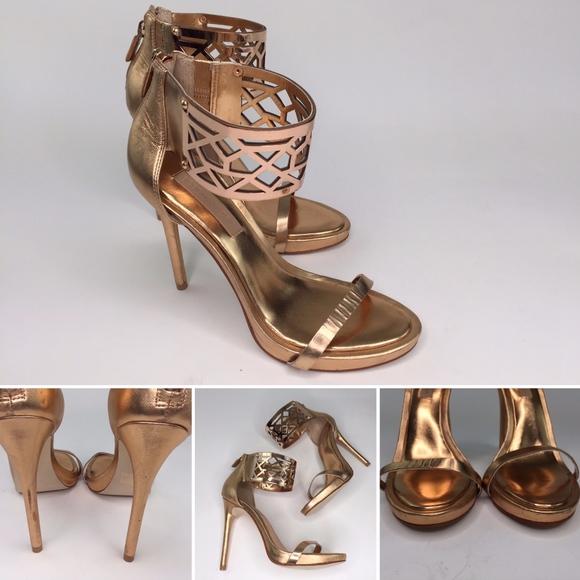 73dcc62fea3e BCBGMaxAzria Shoes - BCBG MAXAZRIA Gold Dust Ankle Strap Sandal Heels